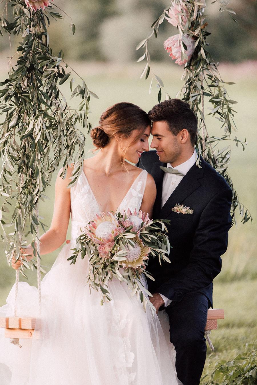 Die Hochzeitsinspiration mit Olivenzweigen
